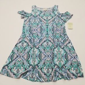 Beige By eci Paisley Cold Shoulder Mini Dress